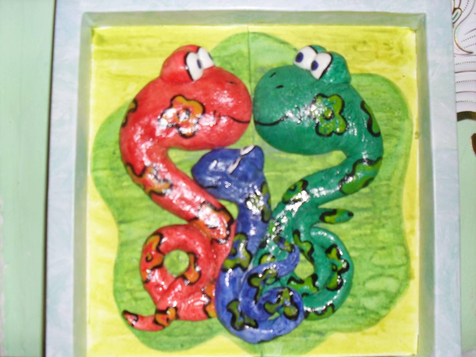 Поделки из соленого теста-змея